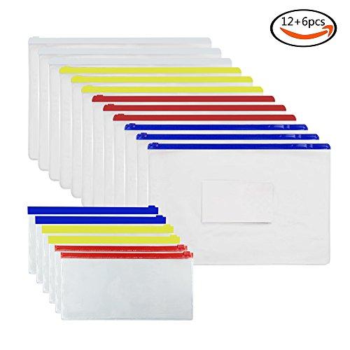 JPSOR 18 Pcs Transparent Poly Zip Envelope Files 12 Pcs Letter Size & 6 Pcs Check Size, Assorted Color