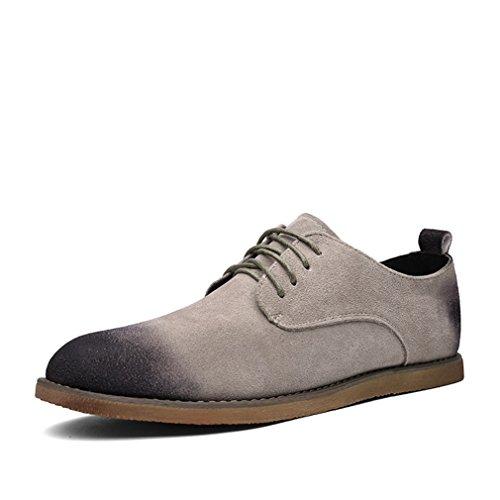 Feidaeu Suédé Chaussure Ville à Lacet Bout Pointu Plat Confortable Inusable Manuelle Ourlet Simple Mode Derby Kaki yyAjoTyCk