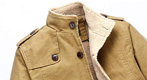 Breasted Jackets Coat Men Long Apparel Stand Sleeve Huixin Khaki Pockets Jacket Outerwear Single Collar Side Sweat Jacket Outdoor Cqg5n5dEP