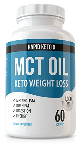 Rapid Keto X MCT Oil Capsules - Keto, Paleo, Low Carb - Faster Metabolism, Ketosis, Sustainable Focus and Energy Supplement - Weight Loss Pills - 1000 MG Coconut Oil - Keto Fuel for The Brain & Body
