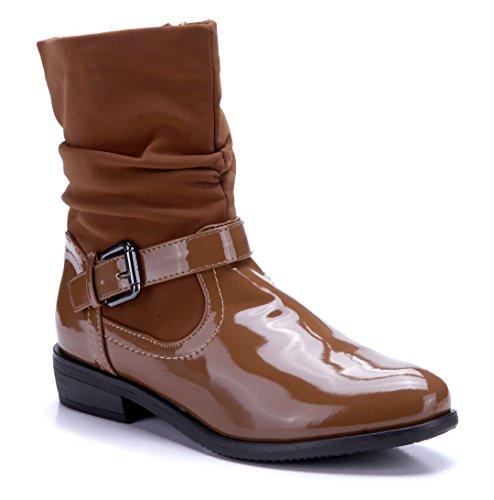 Stiefel cm Damen flach Schnalle 3 Schuhtempel24 Klassische Camel Boots Schuhe Stiefeletten qZfgZpwx