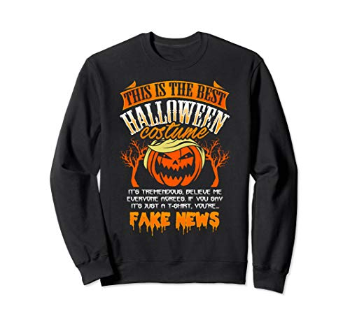 Trump Halloween Costume Sweatshirt Funny Fake News Pumpkin