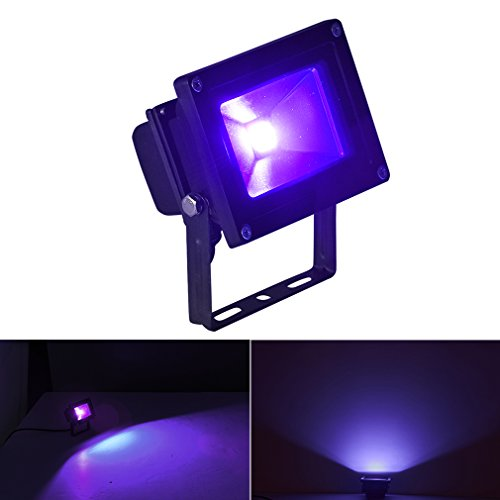 Byshun UV LED Flood Light,10W Ultra Violet Blacklight IP65 Waterproof for Blacklight Party Supplies,DJ Stage Lighting,UV Body Paint,Glow in The Dark,Aquarium,Curing,Fishing by Byshun (Image #1)