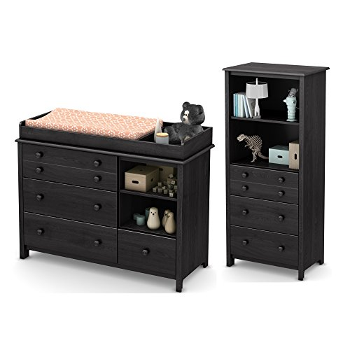 South Shore Furniture Little Smileys Changing Table and Shelving Unit with Drawers, Grey