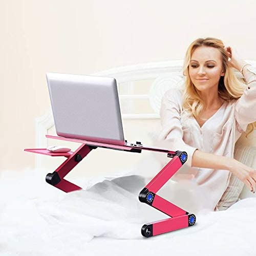 Computer Desk,360 °Adjustable and Foldable Computer Desk Laptop Table Stand for Work or Eat in Bed with Dual Fan + Mouse Board pink