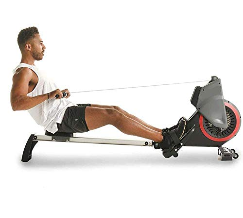 Thuis Air Resistance Roeiapparaat Folding met wielen Roeier Space Aluminium Rail Slideway Pull Rowing Machine