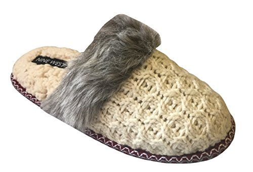cfc30069c8c Nine West Women s Knit Closed Toe Memory Foam Scuff Slippers with Plush Cuff