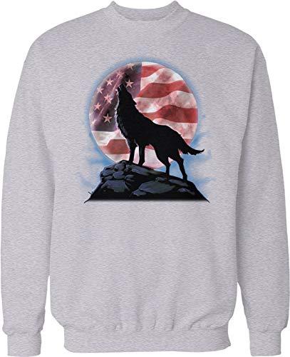 Hoodteez Wolf Full Moon, American Flag in Moon Crew Neck Sweatshirt, M ()