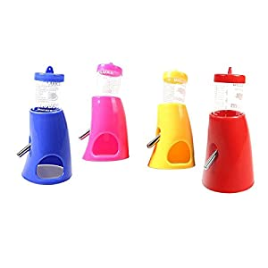Mofawo Puppy Pet Hideout Drinking 2-in-1 Water Bottle with Base Hut for Small Hamster Mice Animals Random Color