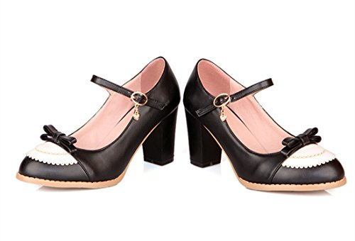 YE Women Closed Round Toe Mary Jane Block High Heel Court Shoes with Bow Black lBm6YMOt