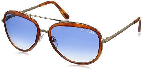 Tom Ford - ANDY FT 0468, Aviator, metal, men, HAVANA/BLUE SHADED(56W), - Tom Blue Sunglasses Ford