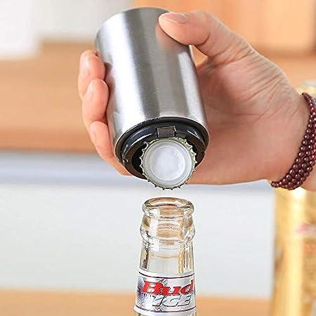 CathEU Multifunción Sacacorchos para Botellas Acero Inoxidable Abrebotellas de Vino y CervezaAbrebotellas, para Abrir Tapas de Botellas (Plata)