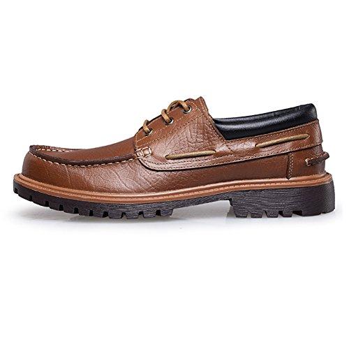 Rismart Hombres Superior Calidad Genunine Cuero de Vaca Encajes Tacón Bajo y Grueso Casual Cuero Mocasines Zapatos Marrón