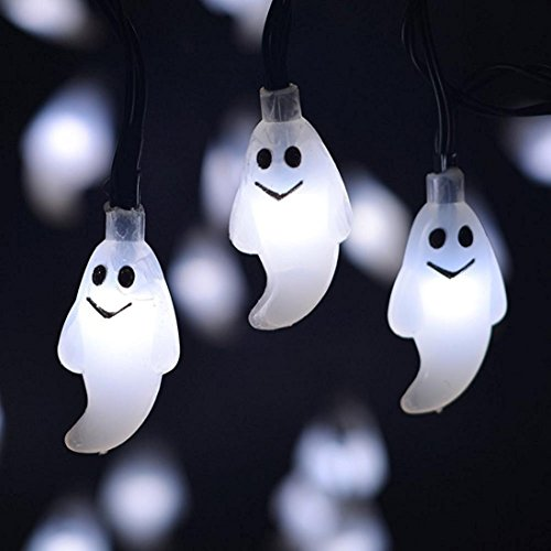 Halloween String Lights 1.2M 10 Led Ghost Indoor And Outdoor String Lights For Party Decor By Orangeskycn (White) -