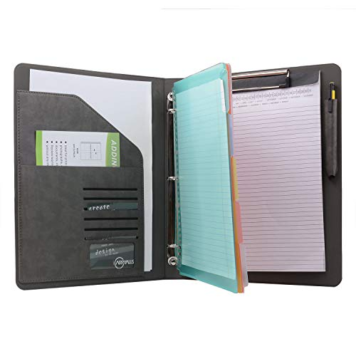 - Binder Portfolio Organizer with Color File Folders, Business and Interview Padfolio with 3-Ring Binder, Clipboard