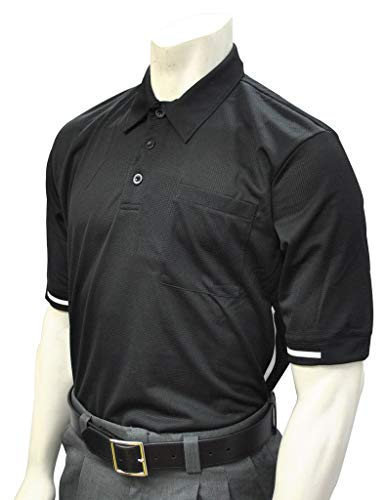 Smitty | BBS-310 | MLB Major League Style Short Sleeve with Piping | Made to Accommodate Chest Protector | Baseball Softball | Umpire's Choice! (Black with White Piping, Large)