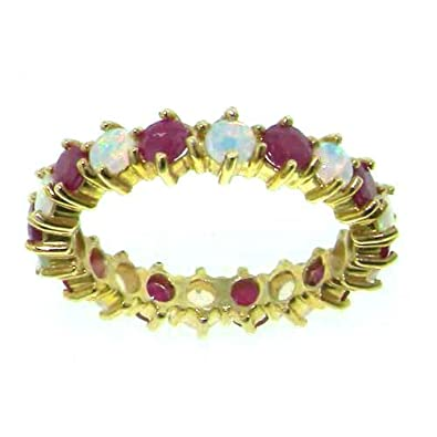9ct Yellow Gold Ladies Opal & Ruby Full Eternity Ring - Finger Sizes L to Z Available 6QW4E6o