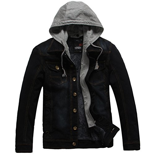 DeLamode Men Denim Jacket Retro Velvet Warm Winter With Hat Cowboy Jeans Coat Black-M