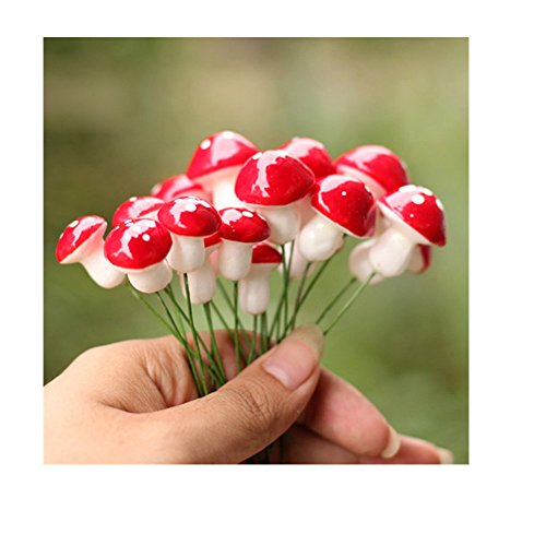 UTENEW Kawaii Resin Craft Decoration Mushroom Fairy Garden Miniatures Accessories (Pack of 50)]()