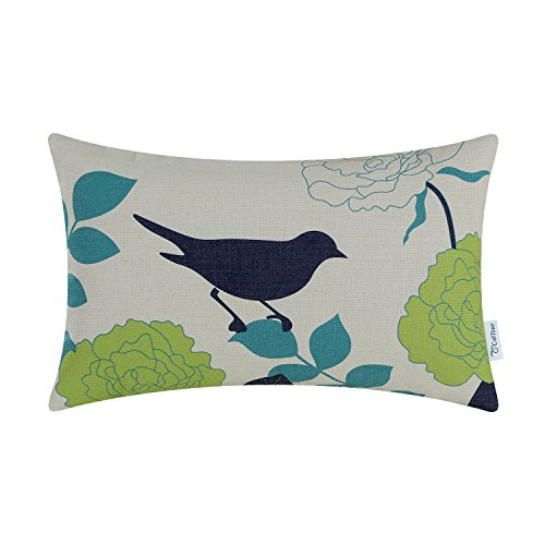 CaliTime Canvas Bolster Pillow Cover Case for Couch Sofa Home Decoration Floral Cartoon Shadow Bird Silhouette 12 X 20 Inches Natural Ground Navy Bird