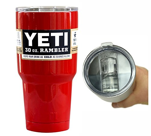 YETI Coolers 30 oz (30oz) Stainless Steel Custom Rambler Tumbler Cup with Exclusive Spill Proof and Resistant Lid (Red Gloss)