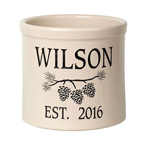 Whitehall Personalized Pine Cone Crock - Custom Ceramic Pot - Black