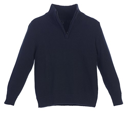 Gioberti Boy's Knitted Half Zip Long Sleeve Sweater, Navy, Size 12 (Half Zip Sweater Blue)