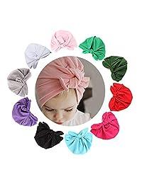 Guozyun 10 Pcs Baby Girl Hats Soft Cute Turbans Headband Cap for Newborn Infant Kids