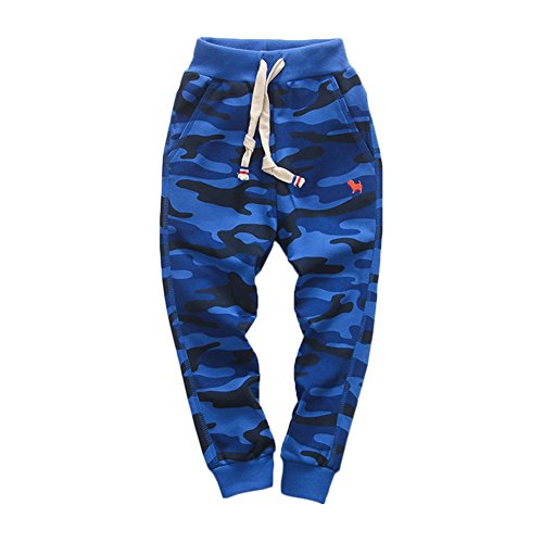 - KISBINI Boy's Cotton Camouflage Sweatpants Sports Pants for Children Sapphire Blue 6T