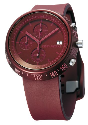 Issey Miyake Trapazoid Unisex Quartz Watch with Red Dial Chronograph Display and Red PU Strap SILAZ007