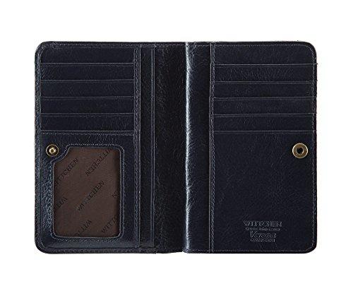 WITTCHEN Portafoglio, Dimensione: 10x14,5cm, Blu, Materiale: Pelle verniciata, Verticale, Collezione: Verona - 25-1-149-N