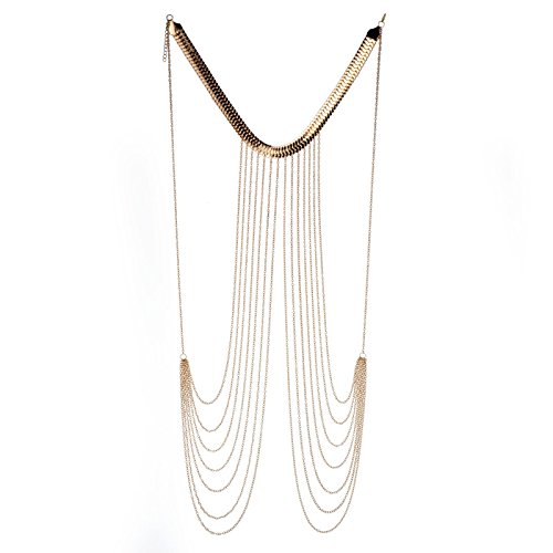 (JOJO & LIN 2019 New Gold Tone Body Chain Harness Adjustable with Fine Chain Multirow Necklace Gold Chain Necklace Chain Jewelry Chains for Women Summer)
