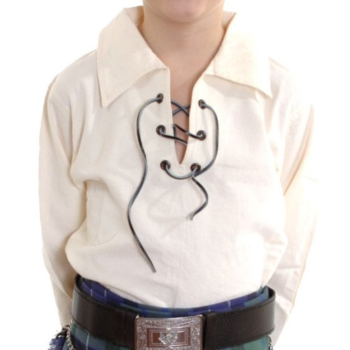Boys Cream Jacobite Ghillie Kilt Shirt Ages 0-13