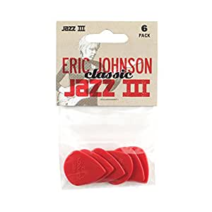 Dunlop 47PEJ3N Eric Johnson Classic Jazz III, Red, 1.38mm, 6/Player's Pack