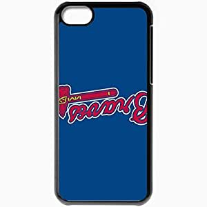 Personalized iPhone 5C Cell phone Case/Cover Skin Baseball Atlanta Braves 4 Sport Black by mcsharks