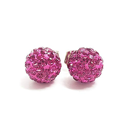 N.CAT Hypoallergenic Crystal Ball Stud Earrings Fireball Disco Ball Pave Bead Earrings (Fuchsia Pink, 8mm)