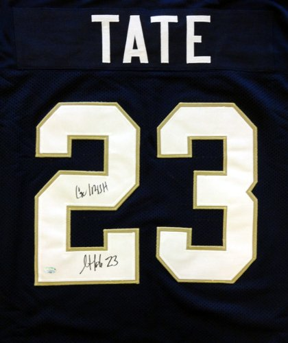 "Golden Tate Autographed Notre Dame Fighting Irish Blue Jersey ""Go Irish"""