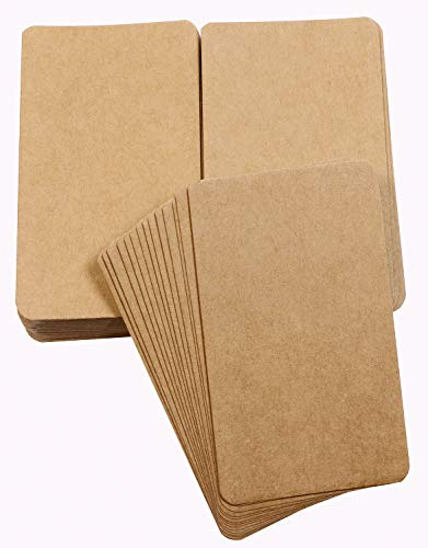 Tupalizy Small Blank Kraft Paper Message Note Business Cards Mini Greeting Place Name Vocabulary Word Flash Cards Graffiti Scrapbookings DIY Gift Tags Label, Bronze, 100PCS ()