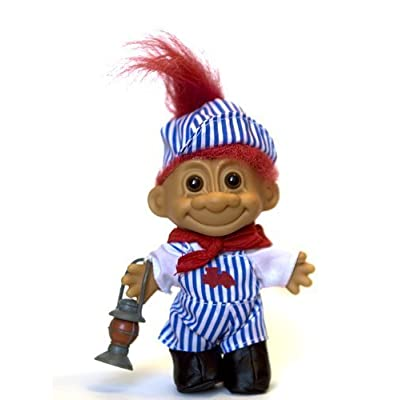 My Lucky Troll Train Conductor Troll Doll (Red Hair) by Russ Berrie: Toys & Games