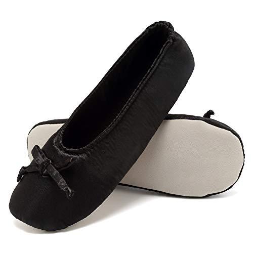 Satin Chrome House (ANLUKE Ballet Shoes House Slippers Flats Indoor Shoes for Women Black 36/37)