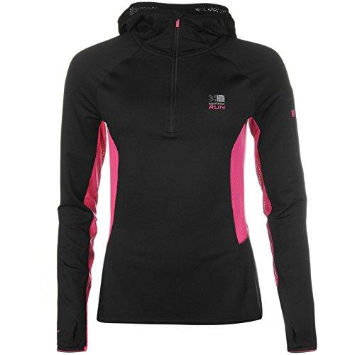 Karrimor Xlite Damen Laufshirt Langarm Jogging Sport Shirt Oberteil Mit Kapuze Black/Pnk Crush 14 (L)