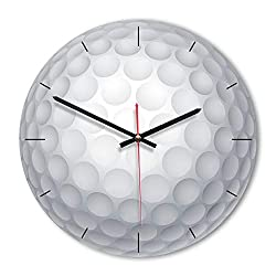 Waitousanqi Creative Golf Shape Round Wooden Acrylic White Wall Clock Living Room Bedroom Children's Room Kindergarten Decoration Clock Mute Non-tick 3030cm,Jump Stitch Accurate 15B