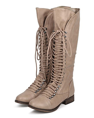 Knee Up Vegan Lace Women's Cap Synthetic High Fourever Toe Boots Tan Funky Leather qRn6afTH