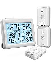 【2020 New】Oria thermometer hygrometer, binnen en buitenthermometer met 3 buitensensoren, achtergrondverlichting & groot lcd-display, min/max-opnames, °C/°F schakelaar, ideaal voor kantoor, thuis - wit