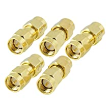 5 Pcs Gold Tone SMA Male to SMA Male Plug RF Coaxial Adapter Connector