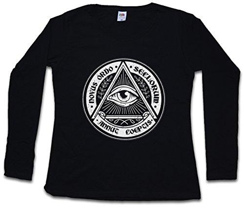 "ILLUMINATI EYE ""J"" DAMEN GIRLIE LANGARM T-SHIRT – – Illuminaten Freimaurer Society Auge Free Masons Loge Lodge Illumiatus Größen XS – 2XL"