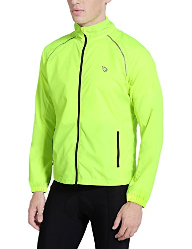 Baleaf Men's Cycling Running Jacket Windproof Windbreaker Breathable Coat Fluorescent Yellow Size XL
