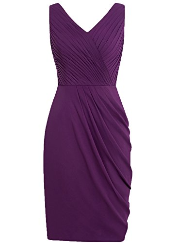 Homecoming Chiffon Gowns Grape Short V Pleated Evening Neck Dresses Cdress Cocktail Dress wTUYq