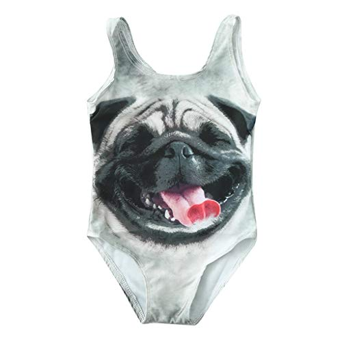 Cuekondy Toddler Baby Girls Kids One Piece Swimsuit 2019 Summer Fashion 3D Animal Printed Swimwear Beach Bathing Suit (Beige-1,18-24 Months) for $<!--$6.59-->