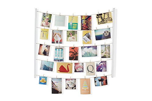 Umbra Hangit Photo Display Diy Picture Frames Collage Set Includes Picture Hanging Wire Twine Cords Natural Wood Wall Mounts And Clothespin Clips For